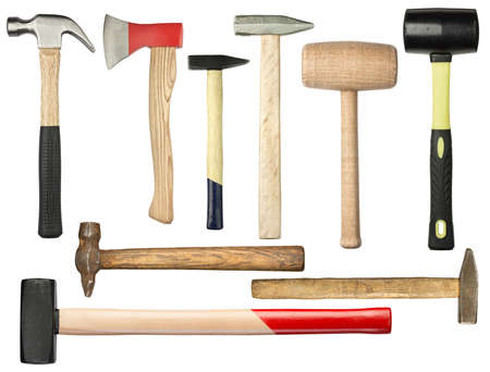 sledge hammer: Various hammers and ax isolated on white
