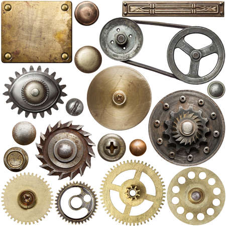 Screw heads, gears, textures and other metal details. photo