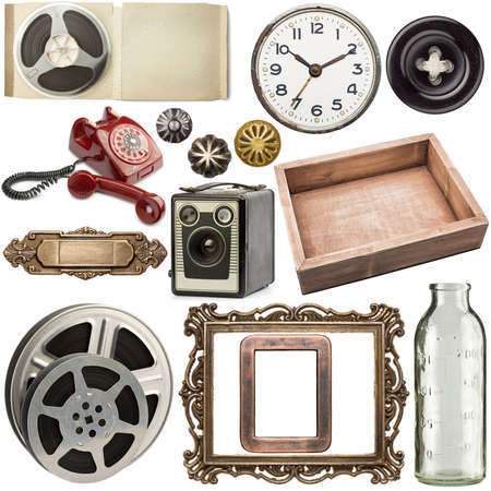 Various vintage objects collection on white background photo