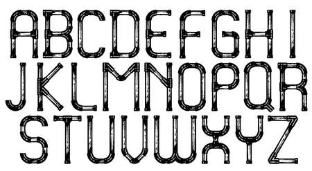 plumbing tools: Industrial metal pipe alphabet letters