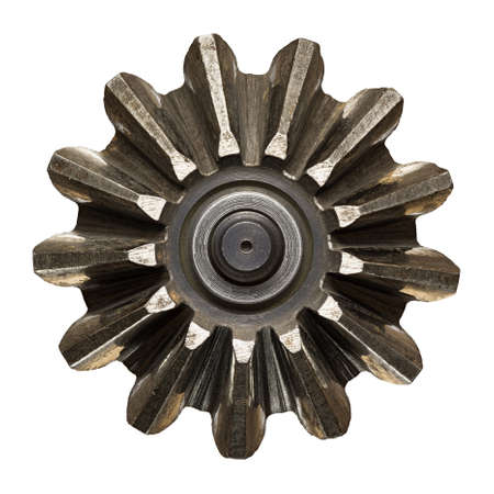 Machine gear, metal cogwheel. Isolated on white. photo