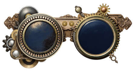 safety glasses: Steampunk glasses metal collage, isolated on white