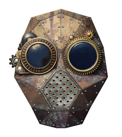 Steampunk metal robot head. photo