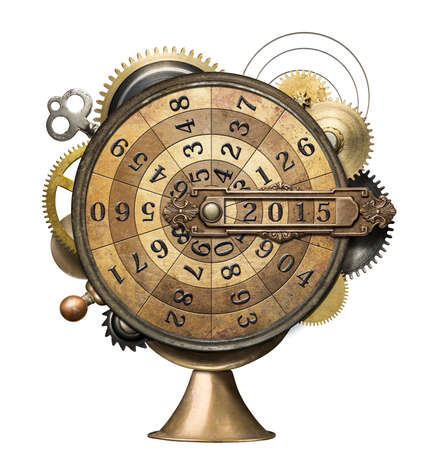 Stylized steampunk metal collage of time counting device. New Year concept. photo