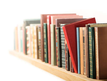 field study: Books in a row. Shallow depth of field.