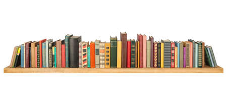 row: Books on the shelf, isolated. Stock Photo
