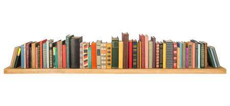 Books on the shelf, isolated. Foto de archivo