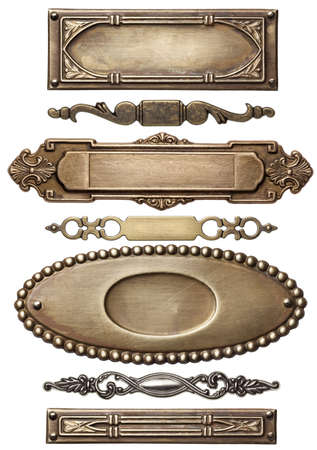 metal: Vintage metal frames, isolated. Stock Photo