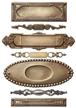 Vintage metal frames, isolated. Stockfoto