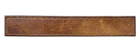 空白レザー ジーンズ ラベル、孤立した長いタグ。 写真素材