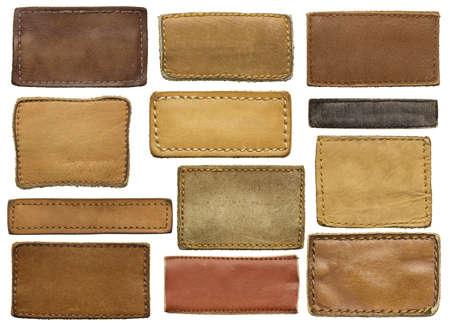 leather background: Leather jeans labels, leather tags.