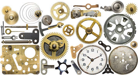 gears: Clockwork spare parts. Metal gear, cogwheels, dial.