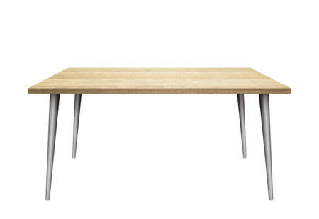 3D table on white background. Wooden top, metal legs. 版權商用圖片