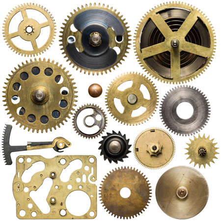 watch: Clockwork spare parts. Metal gear, cogwheels.