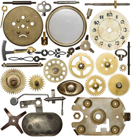 screw heads: Clockwork spare parts. Metal gear, cogwheels, dial.
