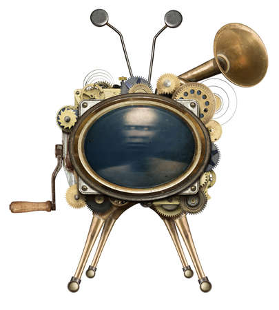 retro robot: Steampunk TV, isolated.
