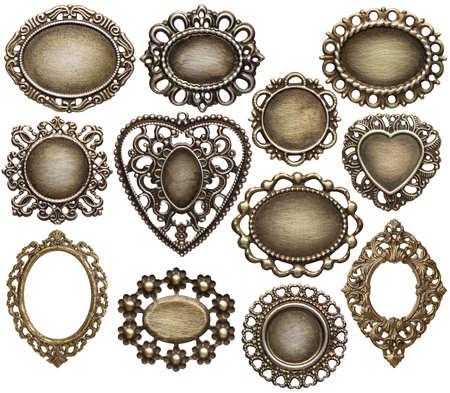 Vintage metal medallion frames, isolated.