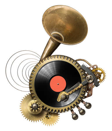 Stylized steampunk metal collage of vinyl record turntable photo
