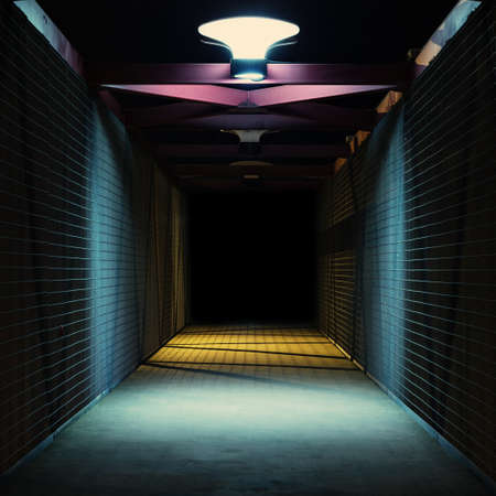 tunnel view: Empty urban night scene.  Metal bridge tunnel.
