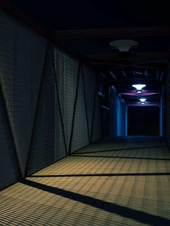 prison fence: Empty urban night scene.  Metal bridge tunnel.