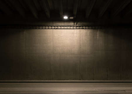 Tunnel road area with spotlight on the wall 스톡 콘텐츠