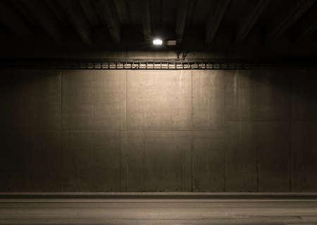 Tunnel road area with spotlight on the wall Archivio Fotografico