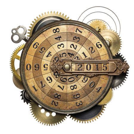 machines: Stylized steampunk metal collage of time counting device. New Year concept.