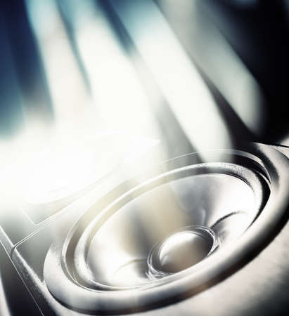 Music party background. Sound speaker and abstract lights.