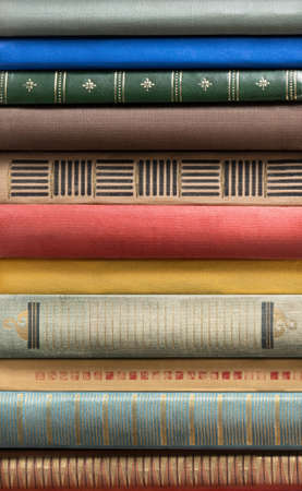 book spine: Stack of old books.