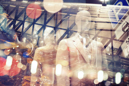 tourism industry: Abstract multi exposure urban background. Stock Photo