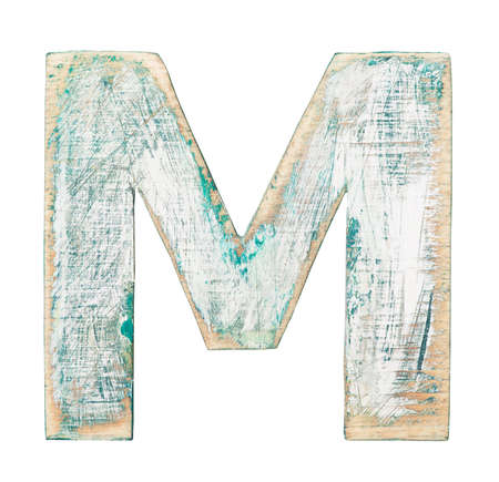 Painted on wood alphabet, letter M photo