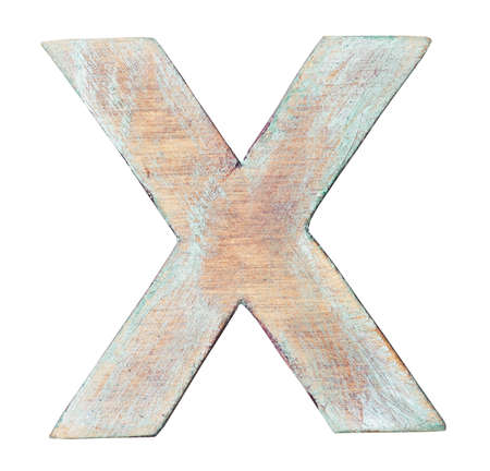 Painted on wood alphabet, letter X photo