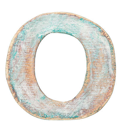 Painted on wood alphabet, letter O photo