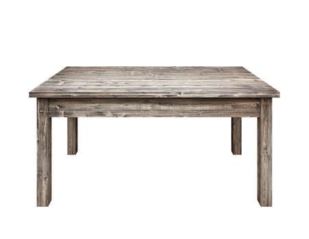 Table en bois sur fond blanc.