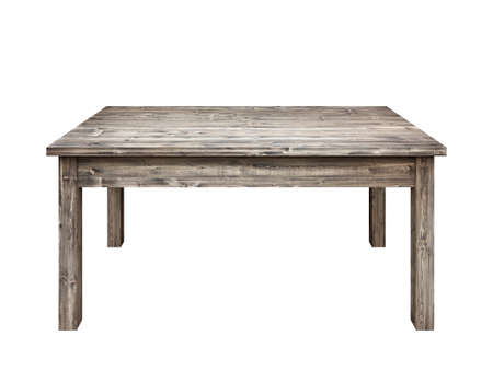 Wooden table on white background. photo