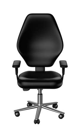 elbow chair: Black office chair isolated white background