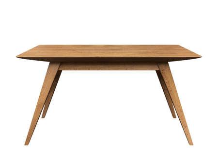 Table en bois sur fond blanc isolé.