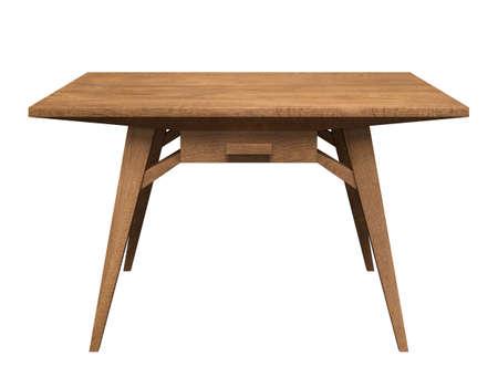 Table en bois avec tiroir sur fond blanc isolé