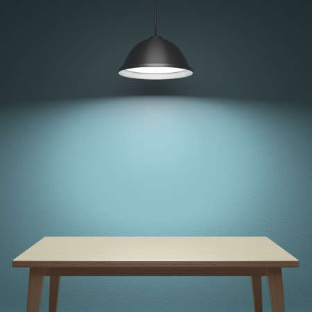 table lamp: Wooden table under the lamp behind the wall