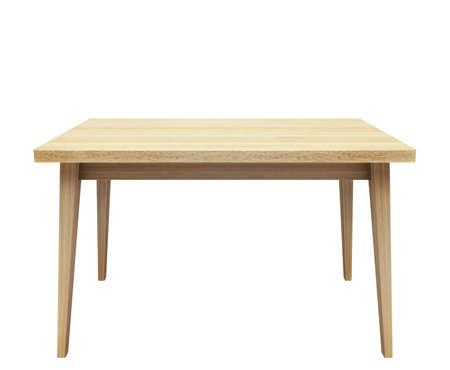 Wooden table on isolated white background. Stock Photo