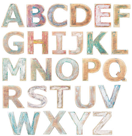 wood craft: Wooden alphabet letters isolated on white