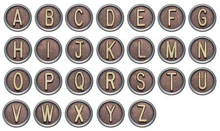 Metal button alphabet letters on white photo