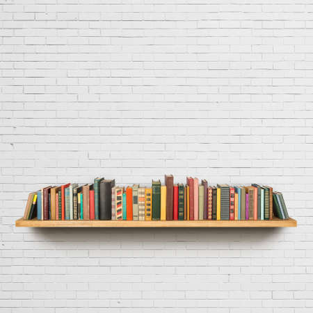 Old books on the shelf photo