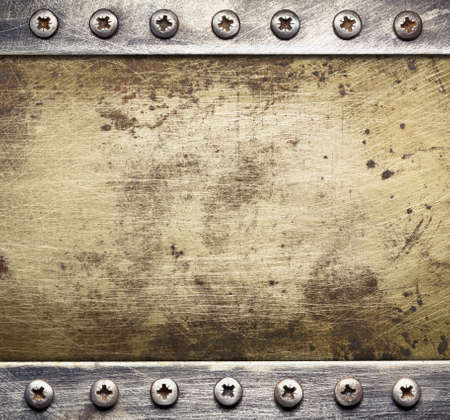 Industrial metal background with screws.