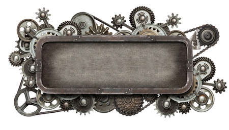 maquina vapor: Collage mecánica estilizada. Hecho de engranajes de metal y las texturas. Foto de archivo