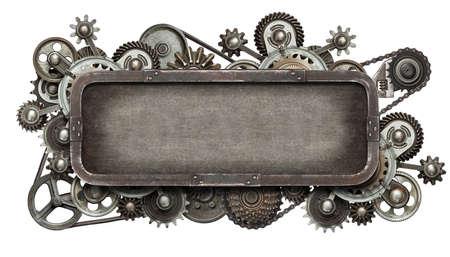 Stilisierte mechanische Collage. Hergestellt aus Metallgetriebe und Texturen.