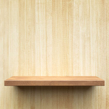 Empty shelf on a wooden wall Stock Photo