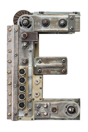 rust metal: Industrial metal alphabet letter E