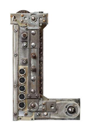 Industrial metal alphabet letter L