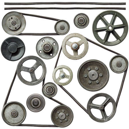 machinery and equipment: Old metal pulleys with belt.